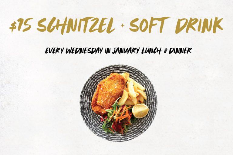 $15 Schnitzel & Soft Drink